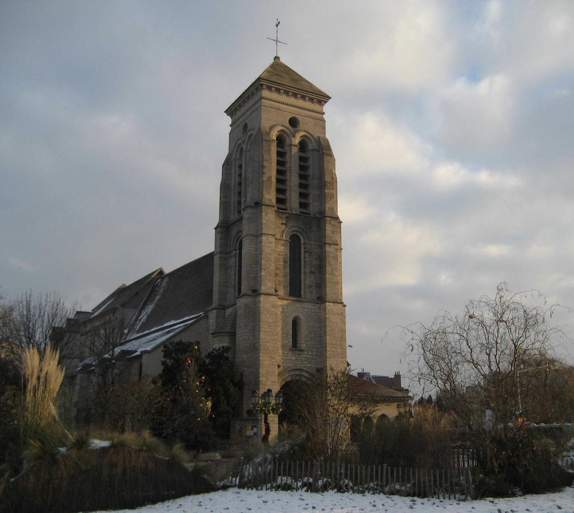 L'église de Créteil en hiver